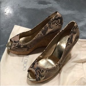 Jimmy Choo snakeskin wedges
